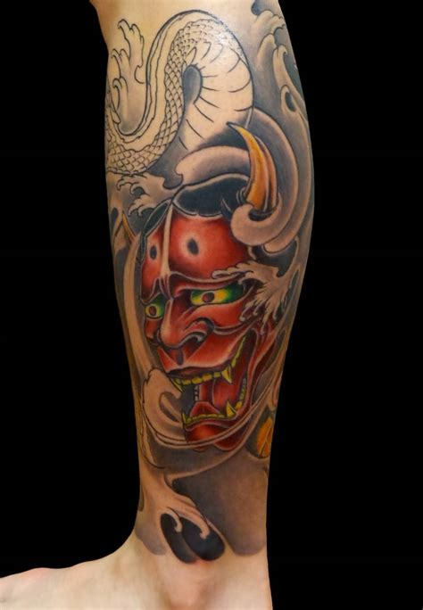 colored tattoos for men 35 hannya leg tattoos
