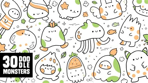 doodle characters monsters colored 30 doodle monsters kawaii doodle characters for