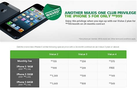 maxis introduces iphone 5 one club offer waives advance payment soyacincau