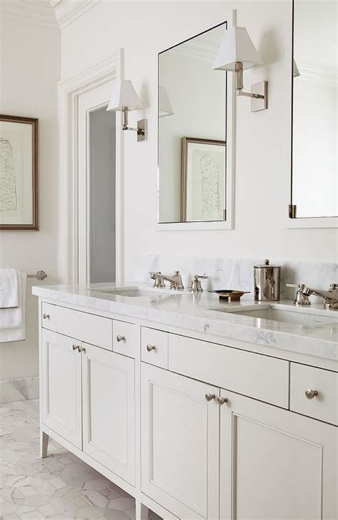 silver bathroom vanity white marble master bathroom chic master bath features a cream double vanity topped