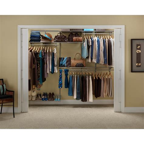 Home Depot Closet Organizer Kits by Closetmaid Shelftrack 5 Ft To 8 Ft Nickel Closet