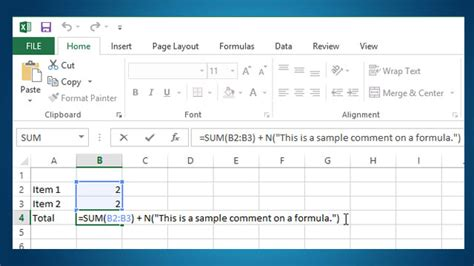 add a add comments to a formula in excel for your future
