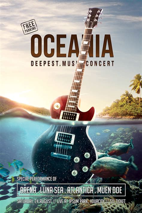 Oceania Music Concert Flyer Psd Template On Behance Free Concert Poster Template