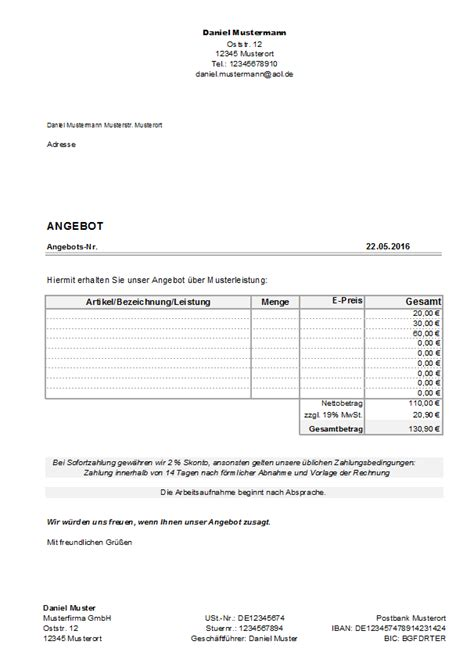 Angebot Vorlage In Excel excel kostenlose angebotsvorlagen office lernen