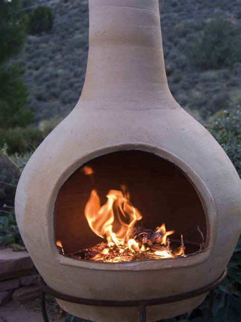 Outdoor Clay Chiminea Fireplace Options   HGTV