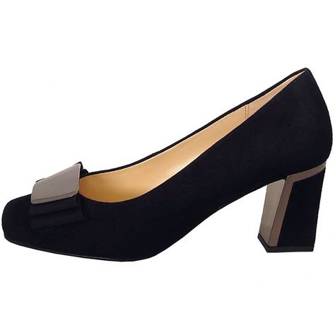 Court Shoes by Gabor Shoes Bovel Womens Court Shoe In Black Suede Mozimo