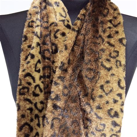 faux fur leopard animal print infinity scarf circle cowl