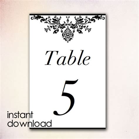Table Numbers Template Items Similar To Diy Table Numbers Template Instant