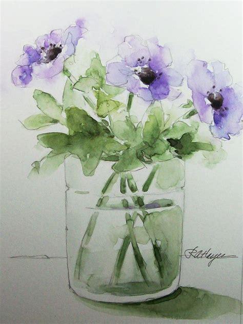 Watercolor Flowers In Vase by Purple Flowers In Glass Vase Original Watercolor Painting