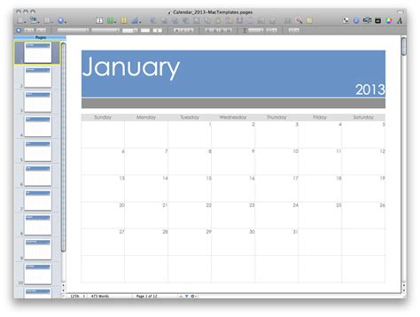 2013 Calendar Mactemplates Com Mac Pages Templates