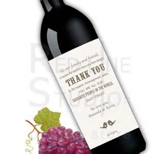 wedding reception thank you card printable wine label