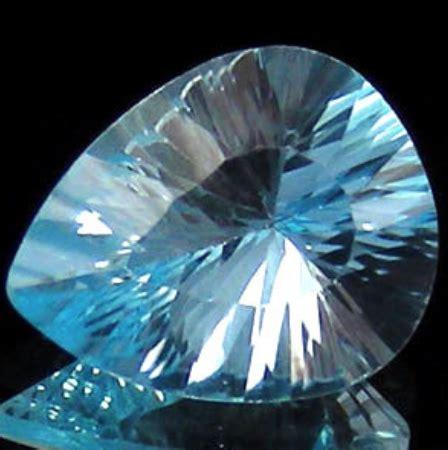 326 Ct Blue Topaz Millenium Pear Cut for sale sky blue topaz gemstone millenium cut concave facets