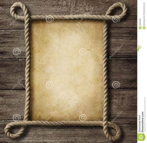 aged paper  rope frame stock photo image