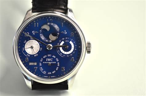 Iwc Scaffhause Blue T1310 3 just because the iwc portuguese perpetual calendar in white gold with a blue hodinkee