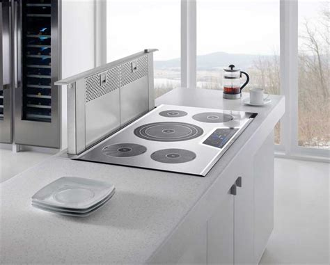 Electric Cooktop With Downdraft 30 In Modern White Kitchen W Induction Cooktop