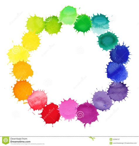 vector watercolor wreath with colorful rainbow blobs