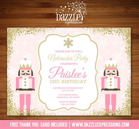 printable nutcracker invitations printable pink and gold glitter nutcracker birthday