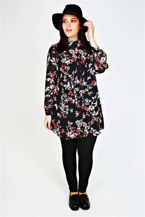 Floral Print Chiffon Shirt black white floral print chiffon longline shirt