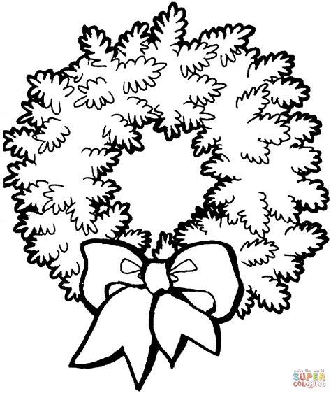 Wreath Bow Coloring Page | kerstmis krans met strik kleurplaat gratis kleurplaten