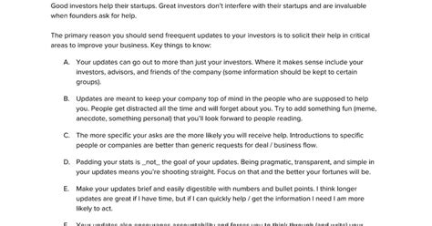 Startup Investor Update Template Google Docs Update Letter Template