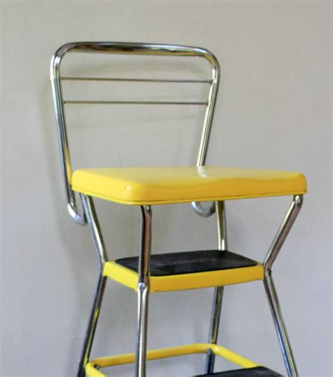 Step Stool Chair by Vintage Yellow Cosco Step Stool Chair