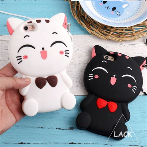 Iphone 6 6s 3d Kawaii Bowtie Cat Silikon Soft Cover Casing Lucu silicon 3d cat bow for iphone 5s for iphone 5 se 6 6s plus animal lovely