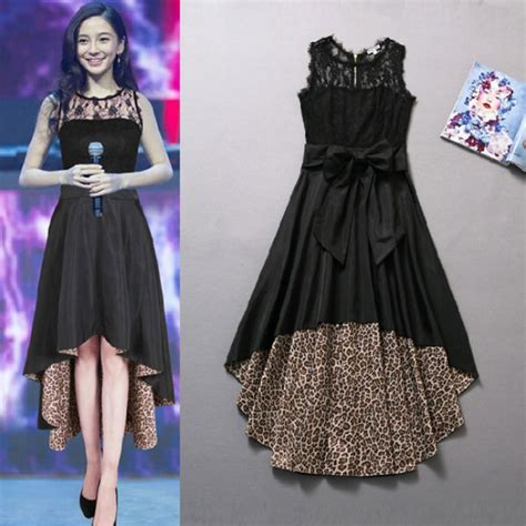 new fashion sexy leopard lace stitching chiffon dress