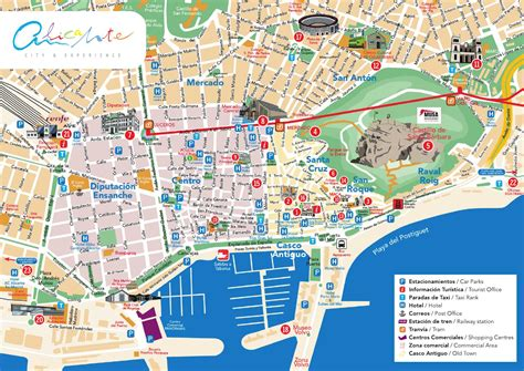 map of alicante city plano alicante centro alicante center map by alicante