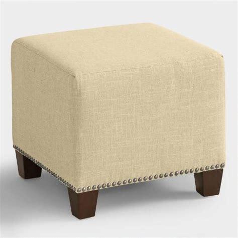 Linen Mckenzie Upholstered Ottoman World Market Cost Plus Ottoman