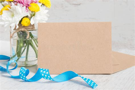 Note Vase by Flowers Bouquet In A Jar Vase With Card Note Envelope And