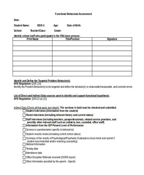 functional behavior assessment template functional behavior assessment functional behavior assessment checklist form functional