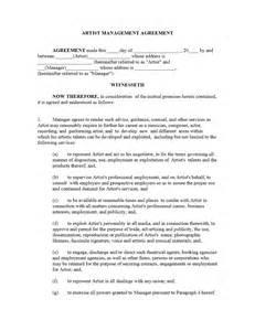 artist management contract template freewordtemplates net