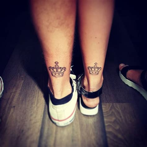 matching crown tattoos for couples black king and crown on wrist