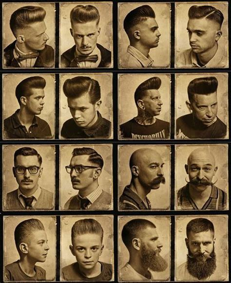 vintage haircut chart greaser hairstyle different styles and beard an mustaches