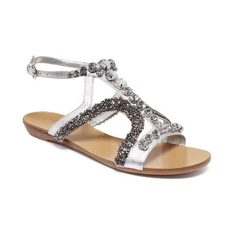 nine west sandals lyst nine west wharf bling flat sandals in metallic