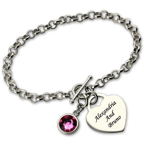 personalized charm bracelet with birthstone name