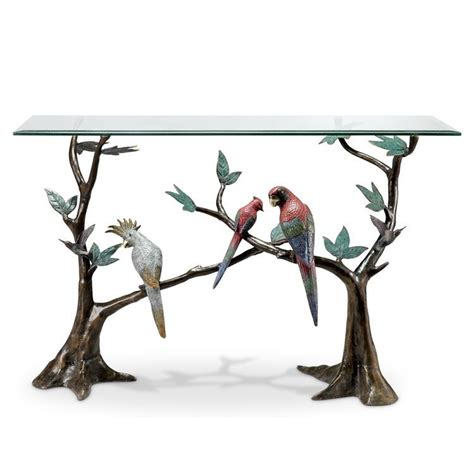 magnificent tropical birds brass glass console