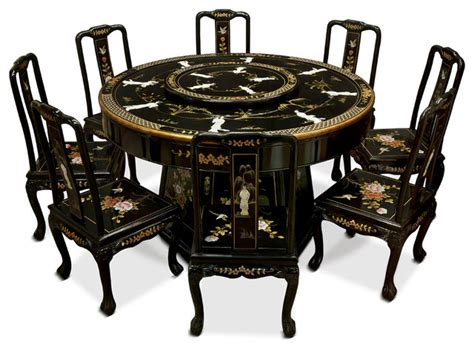 asian dining table black lacquer dining table with 8 chairs asian dining
