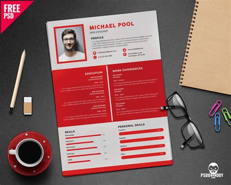 cv resume template clean and designer resume template psd uxfree