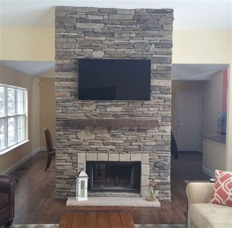 fireplace with stone veneer facing and ceramic tile hearth long island cultured stone stone facing masonry