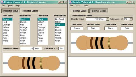 resistor values program sreenshot resistor values 2 1 resistor values resistor color code electrical engineering