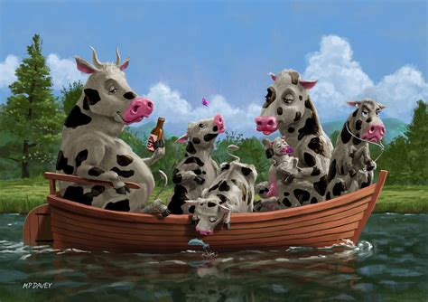 animal cartoon on boat cartoon cow family on boating holiday painting by martin davey