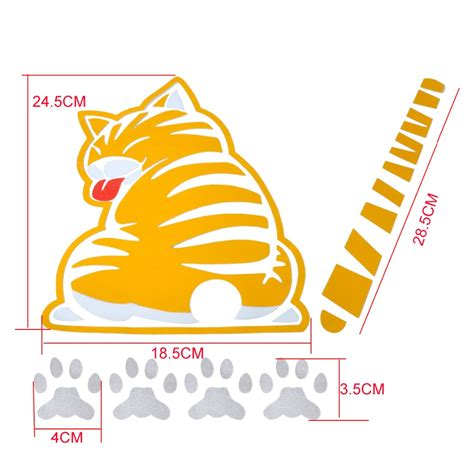 printable windscreen stickers yellow cat pet with wagging tail paw car rear window wiper