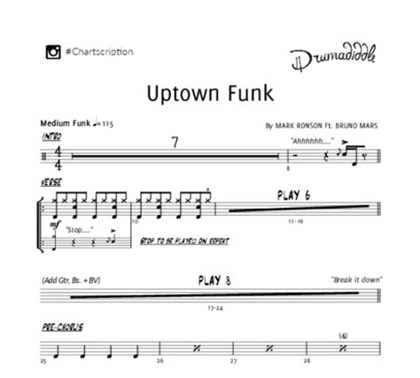 drum tutorial for uptown funk sheet music drumadiddle