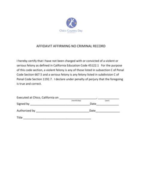 Criminal Record School Fillable Affidavit Affirming No Criminal Record Chico Country Day School Fax
