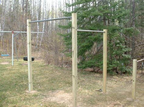 homemade pull  bars backyard gym outdoor outdoor