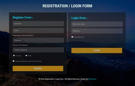responsive login form template registration or login form flat responsive widget template