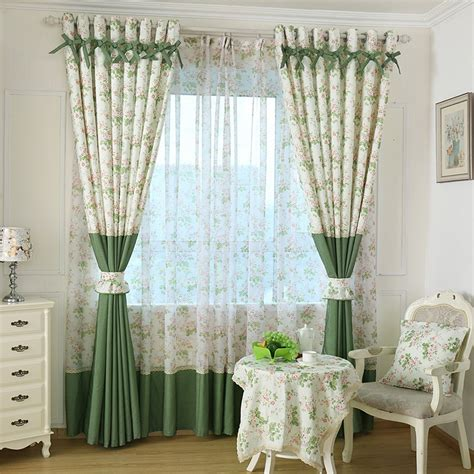 curtains home decor rustic pastoral window curtain for kitchen blackout