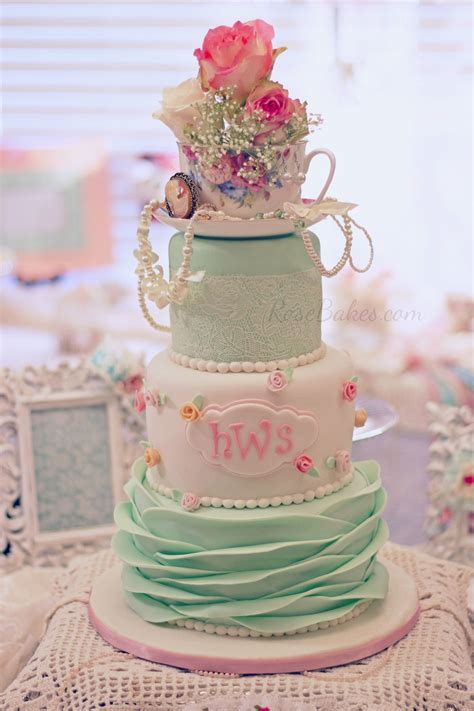 Baby Shower Birthday Cake by Shabby Chic Baby Shower Cake Bakes