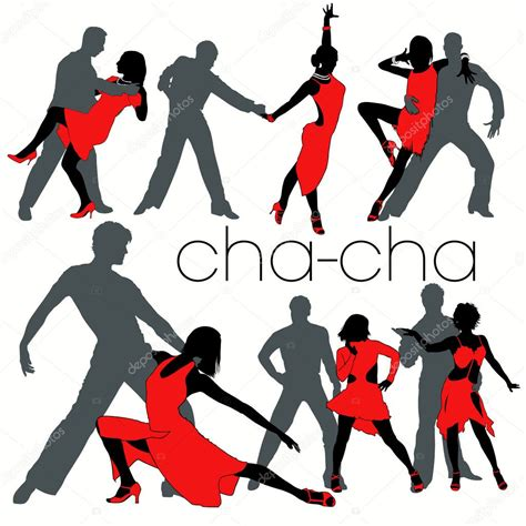 cha cha dancers silhouettes set stock vector 169 kaludov
